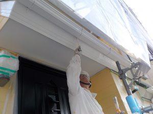 鼻隠し、樋などを塗装